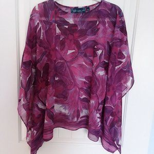 Susan Graver Printed Charmeuse Scarf Top Size S